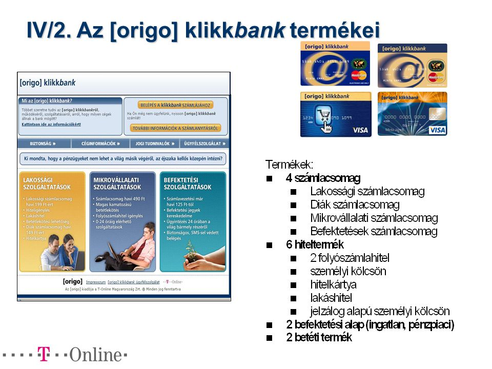 IV/2. Az [origo] klikkbank termékei